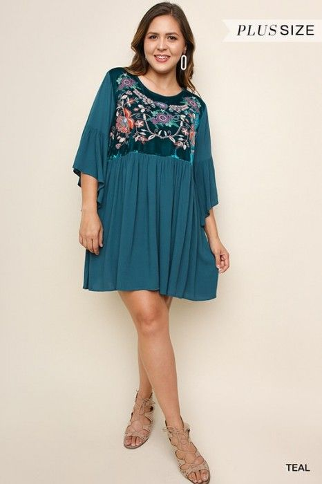 509fe0c9453 Umgee Plus Teal Embroidered Velvet Dress
