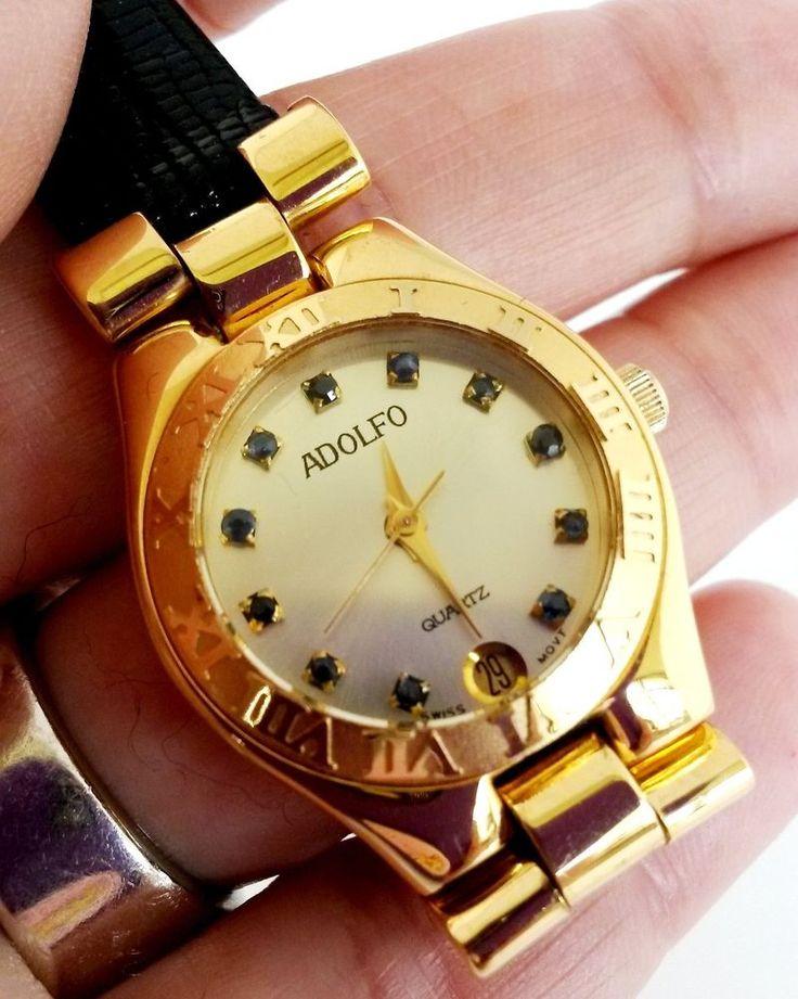 Adolfo 8884 Swiss Date Ladies Quartz Watch Sapphire Markers Gold Tone 1980s GTI #Adolfo #Casual