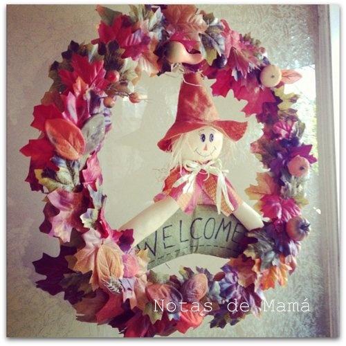 """Corona de """"Acción de Gracias"""" con materiales de la tienda Dollar Tree"""