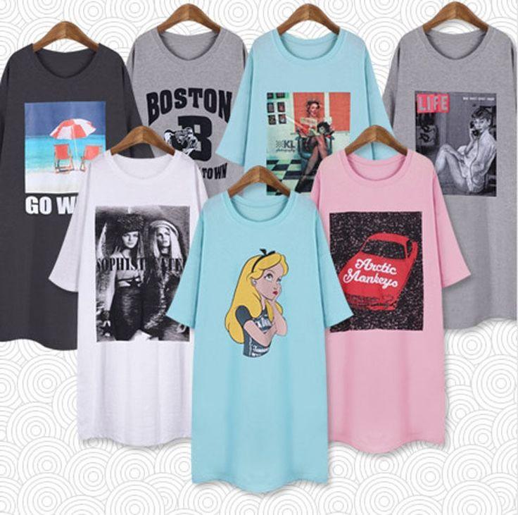 New Women's Fashion Over Size Cute Homewear Style Long Cotton Dress T-shirts…