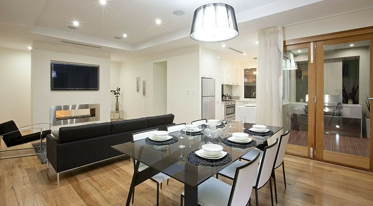 This beautiful open plan living and dining area gives the home a sense of connectedness. #openplan #dining #living #weeksbuilding