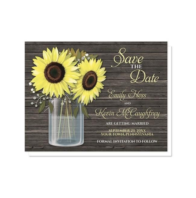 I wanted to share with you these Rustic Sunflower Wood Mason Jar Save the Date Cards? Do you like them?  | Rustic sunflower Save the Date cards with a mason jar and wood theme. Southern country sunflower Save the Date cards with a yellow floral mason jar theme with big yellow flowers, small accents of baby's breath, and green leaves. This illustration is designed over a dark brown rustic wood pattern. Your save the date details are printed in yellow and white over the wood background on the…