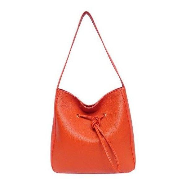 Drawstring Tote Orange ($55) ❤ liked on Polyvore featuring bags, handbags, tote bags, orange tote bag, handbags totes, grommet tote, drawstring handbags and gold tote bag