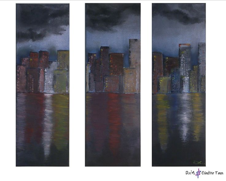 -Cityscape oil painting -oil color paints -20x60 each one  https://www.etsy.com/…/…/cityscape-oil-painting-cloudy-night