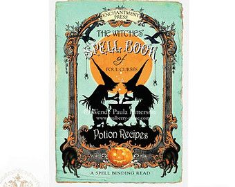 Halloween witch card, a vintage style spell book, halloween card, with black cats, a witches cauldron, silhouetted against a full moon