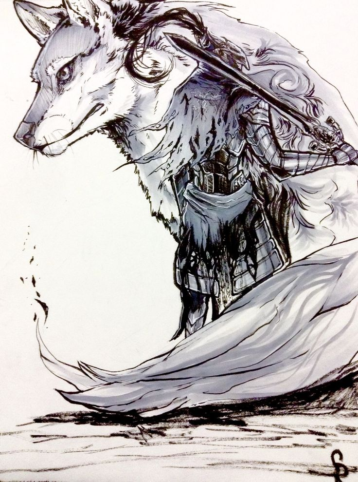 Inktober day 6 (I skipped 5 since I was sick). Knight of Gwyn , Artorias the abyss walker and his companion Sif from Dark souls.