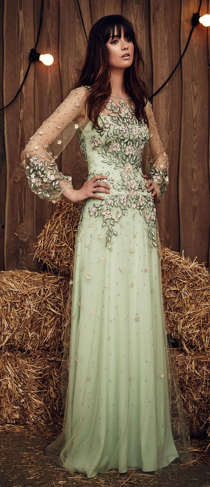 Jenny Packham Spring 2017 Apache wedding dress in celadon green with prink and dark green botanical embellishment and floral appliqués and tulle, long sleeves