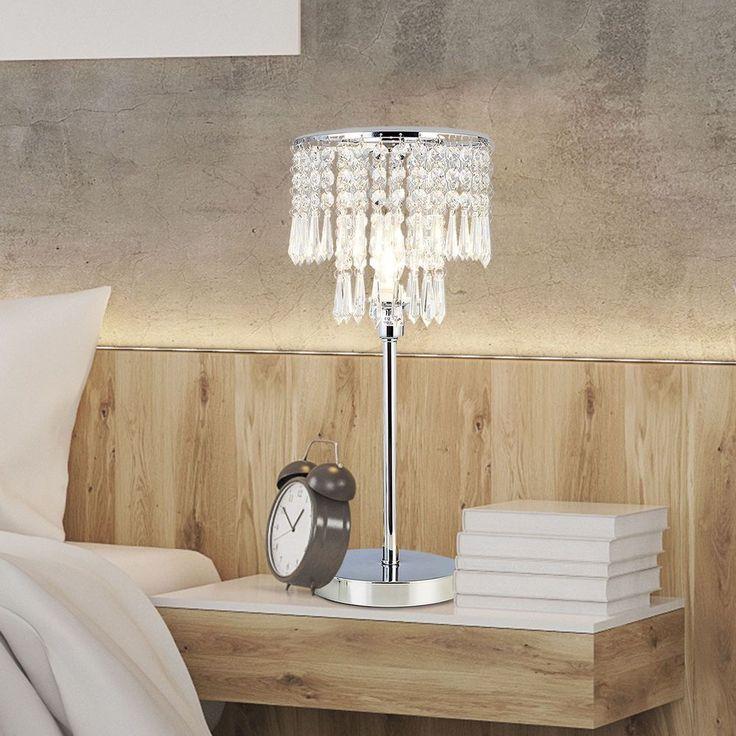 Solid Chrome Finish Crystal Chandelier Durable Lamp Bedroom Bedside Desk Table