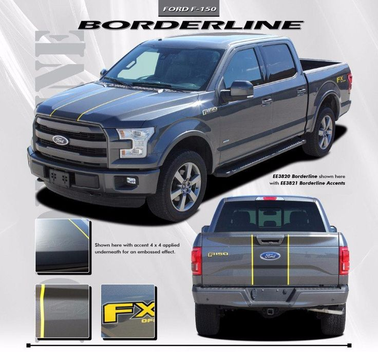 2015-2017 Ford F-150 Borderline Center Racing Stripe w/ Outline Vinyl Decal Graphic 3M Stripes