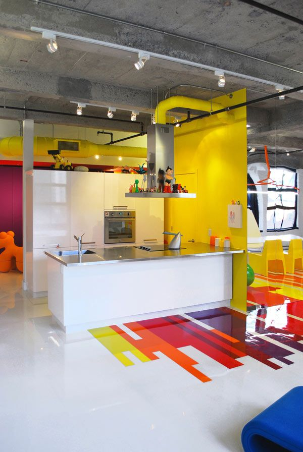 Contemporary Art Collector's Dynamic Colorful Loft #interiors
