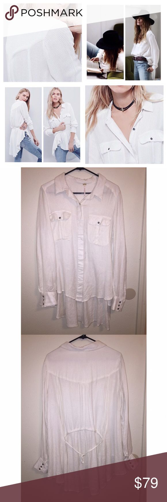 NWOT Free People 'One of the Guys' Button Down Easy and effortless, this oversized buttondown features two bust pockets and hidden button closures. High low hem with an adjustable tie in back. Easy to dress up or down, looks so flattering on! Worn once for 2 hours, new condition, smoke free home. 🚨 SOLD OUT ON FREEPEOPLE.COM! 🚨  100% Rayon Hand Wash Cold Import Free People Tops Button Down Shirts