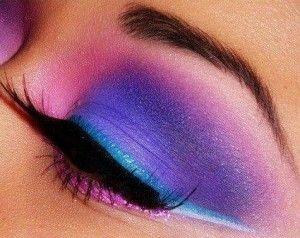 neon- pink, purple, blue #eyeshadow #winged