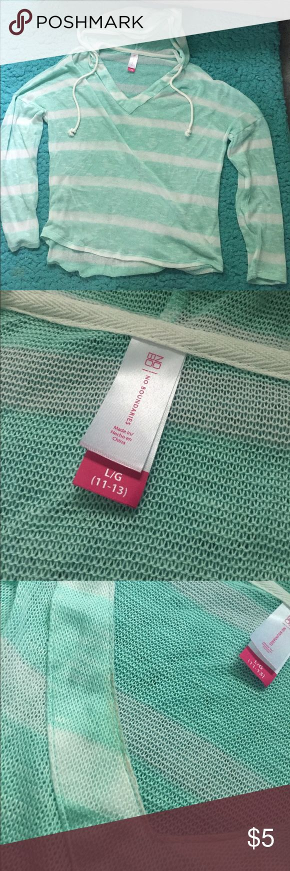 No Boundaries Juniors Thin Hoodie Mint Green NOBO Juniors Thin Hoodie. Bought and only wore to try on then never wore it again. Has a very slight makeup stain on collar from trying on, but should come out with wash. No Boundaries Tops Sweatshirts & Hoodies