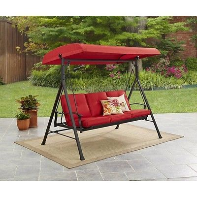 Patio Canopy Swing Red 3 Seat Hammock Porch Padded Outdoor Glider