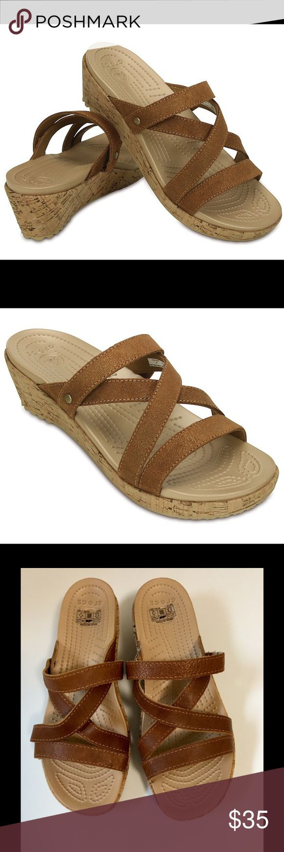 "Crocs Sandals Crocs A-Leigh Leather Mini Wedge Sandals! 2""inch heel ! Women's size 6 wide crocs Shoes Sandals"
