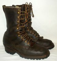 "9.5 D WHITES 10"" Smoke Jumper Wildland Fire men's Leather Boots Vibram Sole"