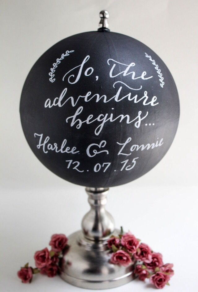 So The Adventure Begins - Chalkboard, Customizable Globe, Wedding Globe, Travel Quote, Wedding Guestbook