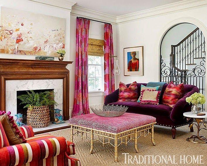 Смелое сочетание розового и зеленого цвета в интерьере дома в Атланте от Katie Rosenfeld - Дизайн интерьеров | Идеи вашего дома | Lodgers