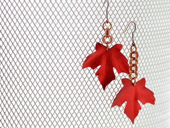 Red Maple Leaf Earrings by MetalMythStudios on Etsy