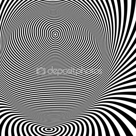 Шаблон с оптической иллюзией. черный и белый фон — стоковая иллюстрация #70991491