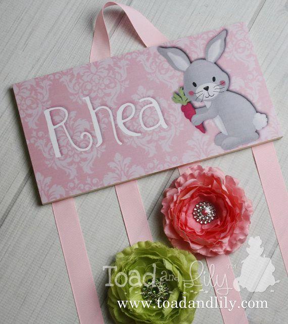 HAIR BOW porte - porte personnalisé lapin rose de Damas-noeud - noeuds Clip organisateur - filles personnel Hair Bow et Clip cintre Hb0162