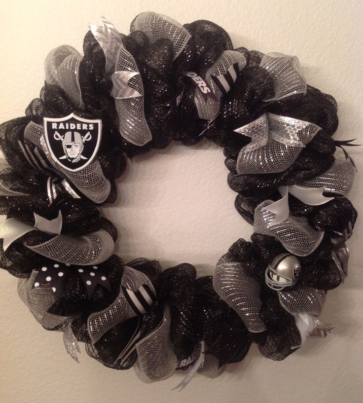 Nfl Oakland Raiders Wreath Deco Mesh Door Hanger Decoration Handmade - New by SportsNutz on Etsy