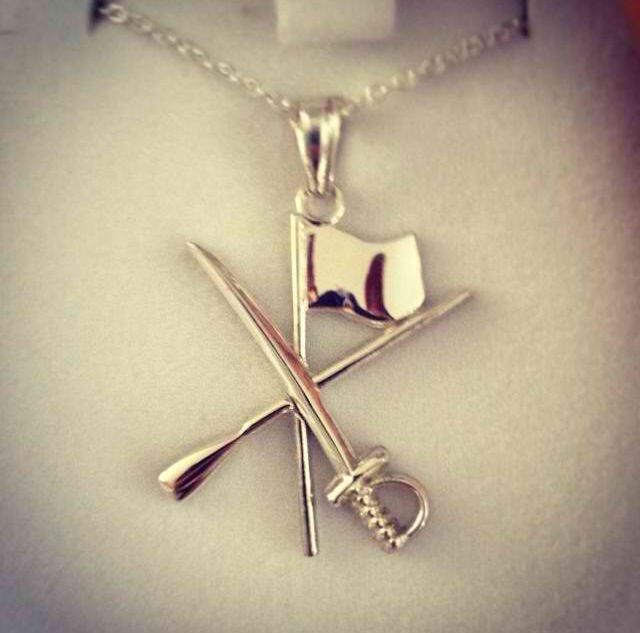 I love this flag, rifle and saber necklace. Cutest color guard necklace sooo far.