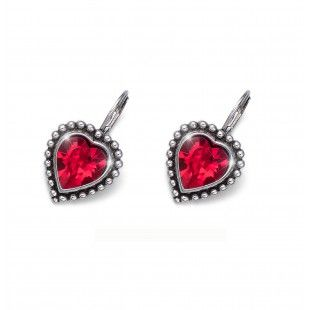 Oliver Weber Women lovely red earrings antique heart with Swarovski Crystals