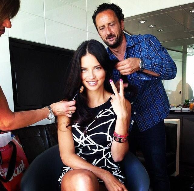 Marco Santini with the goddess Adriana Lima! #BTS #ionstudionyc #desigual