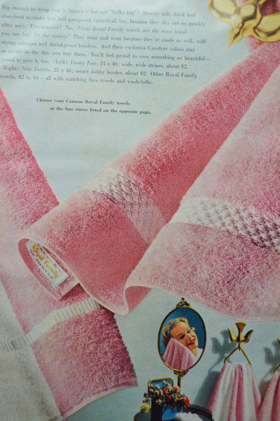 Pink Bathroom Vintage Ad 1950s Cannon Towels Bathroom Decor