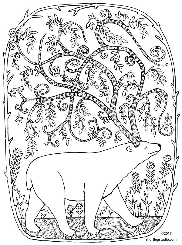 Happy Winter Solstice Short Leg Studio Bear Coloring Pages Printable Coloring Pages Animal Coloring Pages