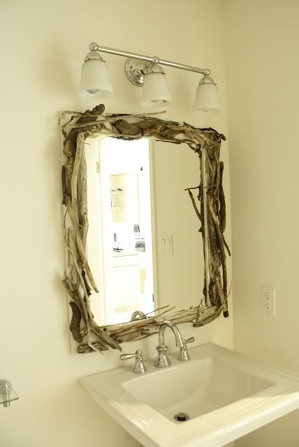 driftwood framed mirror diy