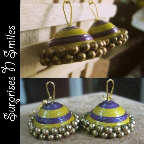 pretty purple and olive green gold encrusted jhumkas :)