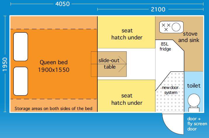 Vantage slide on camper layout diagram