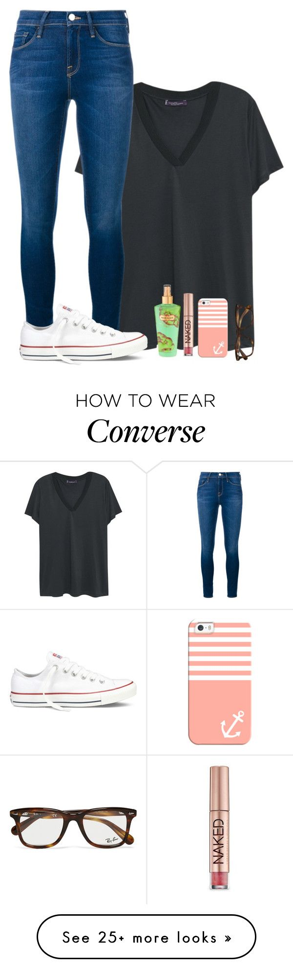 """""""OOTD"""" by theblonde07 on Polyvore featuring Violeta by Mango, Frame Denim, Converse, Victoria's Secret, Urban Decay, Casetify and Ray-Ban"""