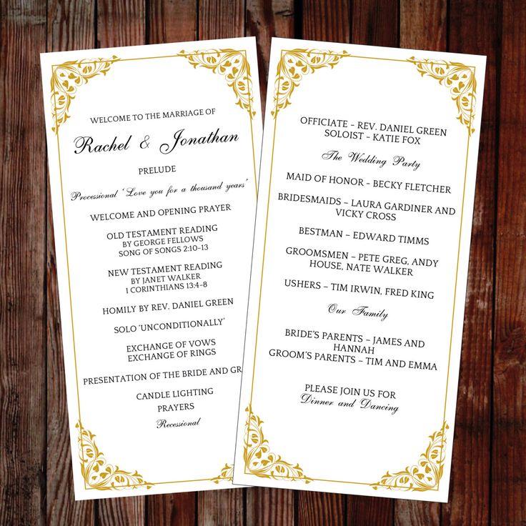37 best DIY Wedding Programs images on Pinterest | Diy wedding ...