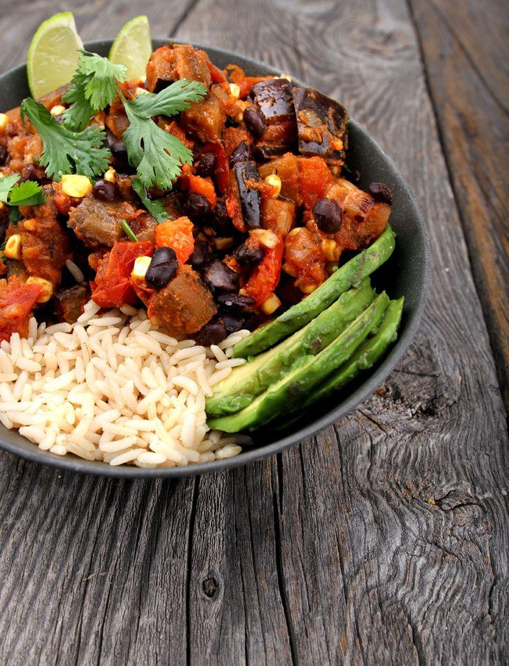 Oppskrift Tex-Mex Aubergine Gryterett Sorte Bønner Fullkornsris Sunn Meksikansk Middag Vegetar Vegan