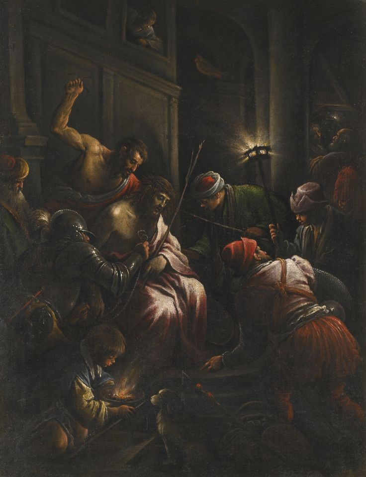 Workshop of the Bassano Family ACTIVE IN BASSANO DEL GRAPPA AND VENICE, CIRCA 1540-1622 THE MOCKING OF CHRIST oil on canvas, unlined 80 by 61.5 cm.; 31 1/2  by 24 1/4  in.: