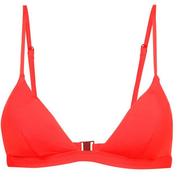 Onia Danni bikini top (243.510 COP) ❤ liked on Polyvore featuring swimwear, bikinis, bikini tops, red, swimsuit tops, red bikini, swim tops, red swimwear and red swimsuit top