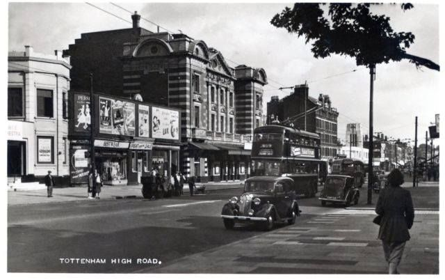 The Royal dance hall (left) and the Palace cinema (centre), Tottenham High Road, 1950's