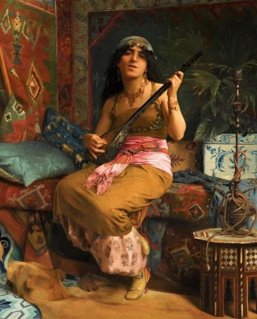 Theodoros Ralli ( 1852-1909 ) * Naslı, Jouant de le guitare, 1877