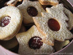 kruche babeczki: Pyszne kruche ciasteczka z powidłem truskawkowym