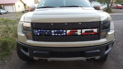 Rock the red, white & blue on your grill! This patriotic decal for your truck is a perfect car accessory for summer!