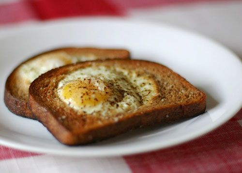 Egg in a Nest, Toad in a Hole, Eggy in a Basket, or Hobo Eggs—whatever you want to call it, this is an easy, fun, and delicious breakfast idea that your kids will love! Get the instructions at pinchmysalt.com
