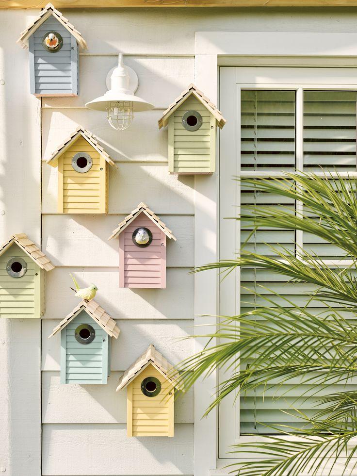 Bird houses pastel