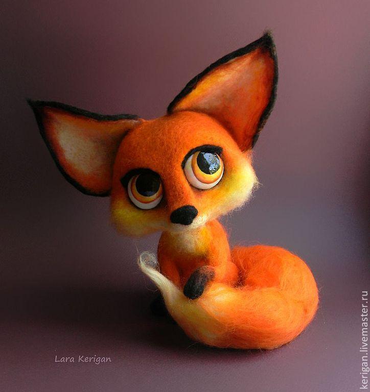 Купить Лисица - лис, лисенок, лисица, войлочная игрушка, Глазки, авторская игрушка, лиса, шёрсть