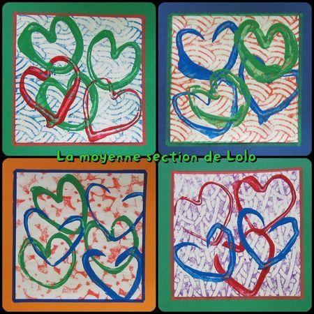 .jolis cartes; fond plaque à textures et empreintes de coeur rouleau de papier toilette
