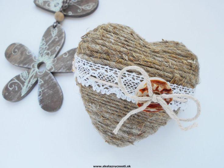 polystyrén srdce špagát čipka styro heart vintage lace