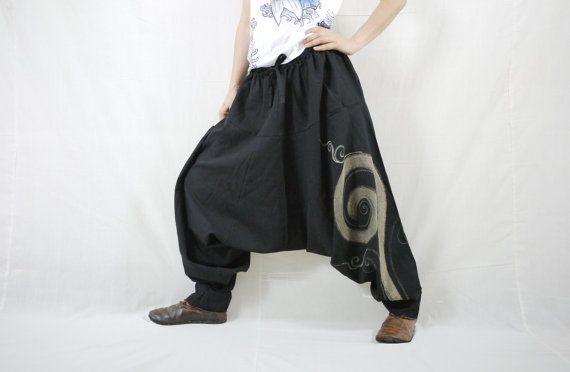 Boho Funky hippy Harem goccia cavallo nero cotone donne uomini pantaloni con candeggina pittura & 1atched tasca - P025