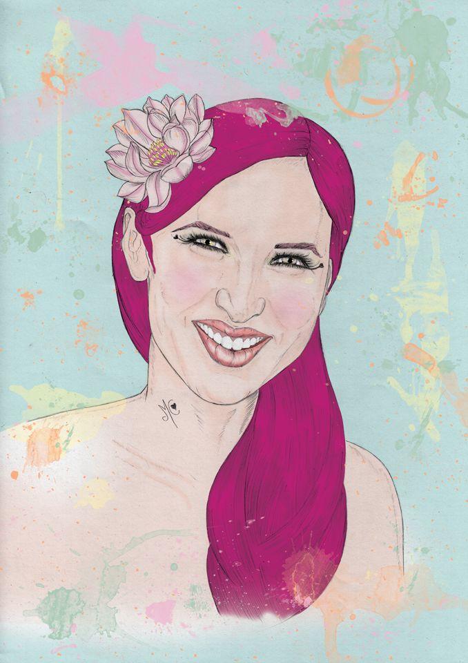 Illustration Portrait. Pencil on paper + digital painting. A3 size.